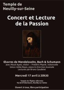 Concert et Lecture de la Passion le mercredi 17 avril au temple de Neuilly à 20h30, et tous nos RDV de Pâques
