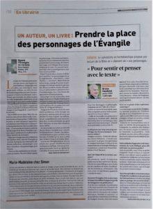 Quand l'Evangile se raconte, Interview pour le journal Réforme